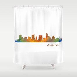 Austin Texas, City Skyline, watercolor  Cityscape Hq v1 Shower Curtain