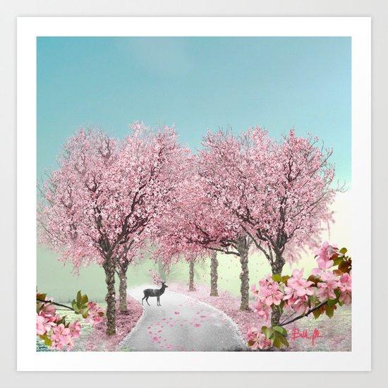 Cherry Blossom Lane Art Print