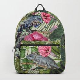 Jungle Reptiles In Tropical Vegetation Backpack