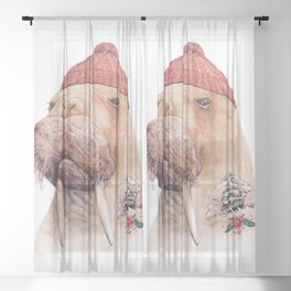 Tattooed walrus Sheer Curtain