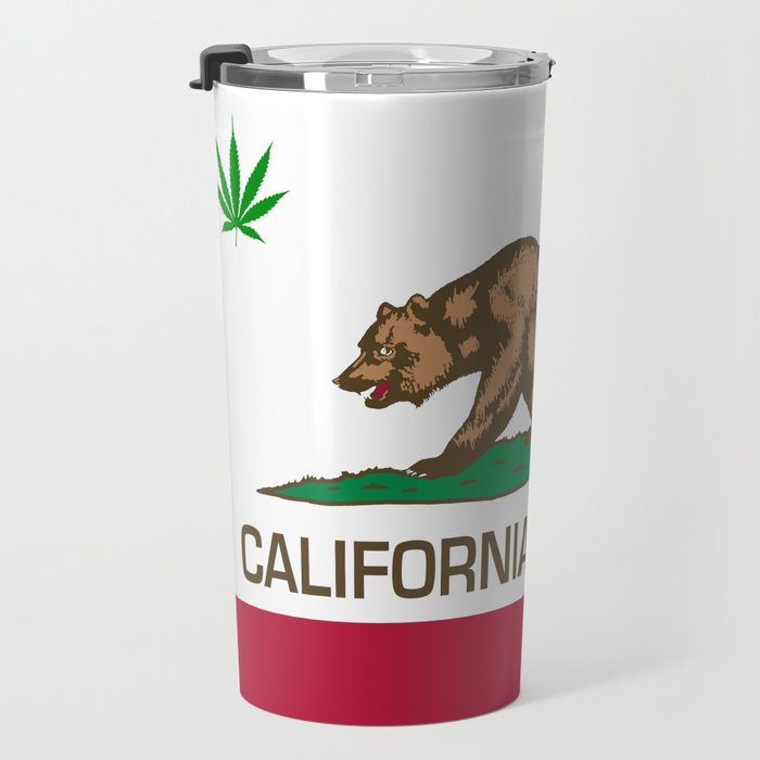 California Republic state flag with green Cannabis leaf Travel Mug