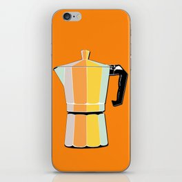 Retro Coffee Pot - Vintage Spring Colors on Morning Sun Background iPhone Skin