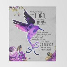 Hummingbird Psalm 9:1-2 Scripture Purple Abstract Collage Art Throw Blanket