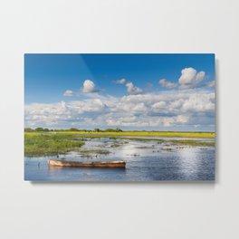 Old wooden boat in Biebrza wetland Metal Print