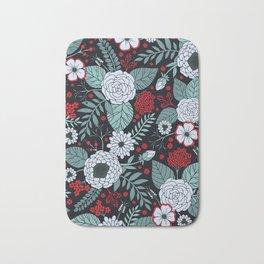 Red, Gray, Aqua & Navy Blue Floral/Botanical Pattern Bath Mat