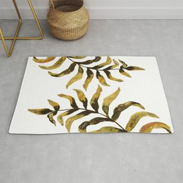 Gold Exotic Palm Leaves - Tropical Design Rug
