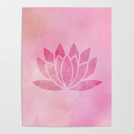 Zen Watercolor Lotus Flower Yoga Symbol Poster