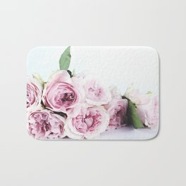 Mauve Mixed Pinks and Whites Roses with Greenery Bath Mat