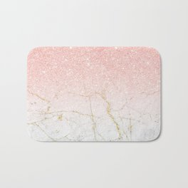 Rose Gold Glitter and gold white Marble Bath Mat