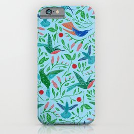 Hummingbirds and flowers pattern iPhone Case