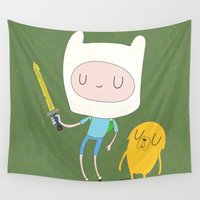 jake Wall Tapestries featuring Finn & Jake by Rod Perich