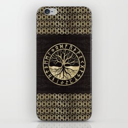 Tree of life  -Yggdrasil and  Runes on wooden texture iPhone Skin