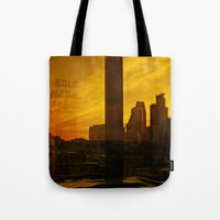 minneapolis Tote Bags featuring golden minneapolis by sara montour