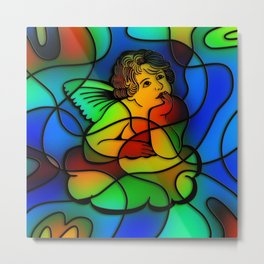 Stained Glass Cherub Metal Print