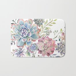 succulent watercolor 6 Bath Mat