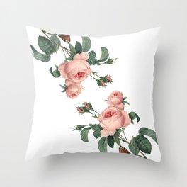 Butterflies in the Rose Garden on White Throw Pillow
