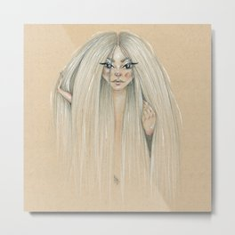 Messy hair dont care Metal Print