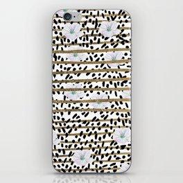 Lavender black faux gold stripes brushstrokes floral iPhone Skin