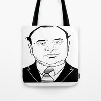 scarface Tote Bags featuring Al 'Scarface' Capone by Danny Abbott