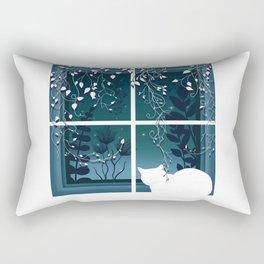 White Kitty Cat Window Watcher Rectangular Pillow