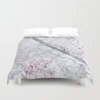 vienna Duvet Covers featuring Vienna map by MapMapMaps.Watercolors