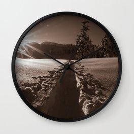 B&W Sunrise Backcountry Ski // Black and White Skin Track to Snowy Paradise Wall Clock