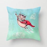 superhero Throw Pillows featuring Superhero by Aleksandra Jevtovic