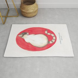 Haruki Murakami's Kafka on the Shore // Illustration of a Siamese Cat with a Fish in her Mouth in Pe Rug
