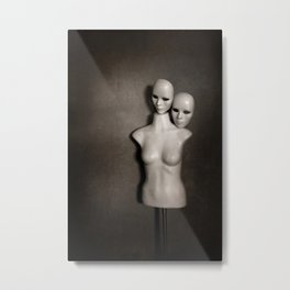 Mannequin with Two Faces Metal Print