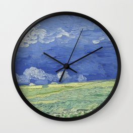 Wheatfield under Thunderclouds Wall Clock