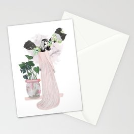 pink & plants 1 Stationery Cards