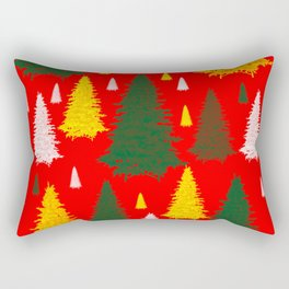 green gold silver Christmas trees on red background Rectangular Pillow