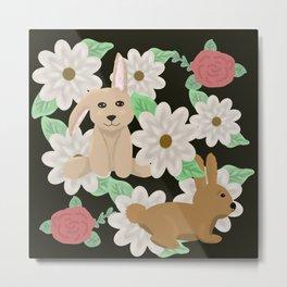 Bunnies and flowers  Metal Print