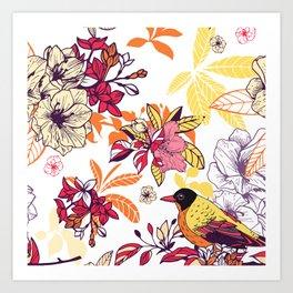 flowers and birds Art Print