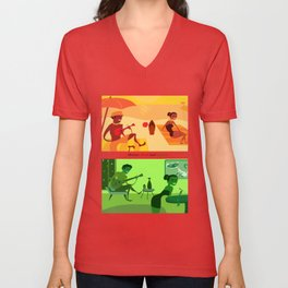 Bossa Red and Green Unisex V-Neck