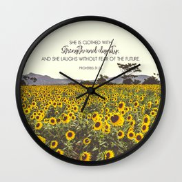 Proverbs and Sunflowers Wall Clock