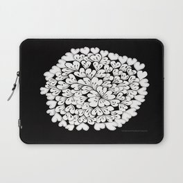 Hearts and Flowers Zentangle black and white illustration Laptop Sleeve