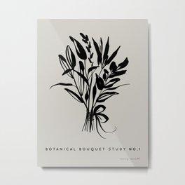 Wild Flowers Bouquet- In Black Metal Print