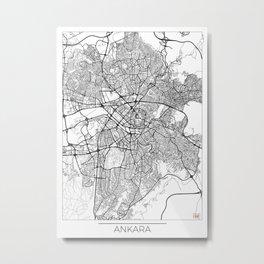 Ankara Map White Metal Print