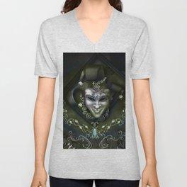 Venician mask with floral elements Unisex V-Neck