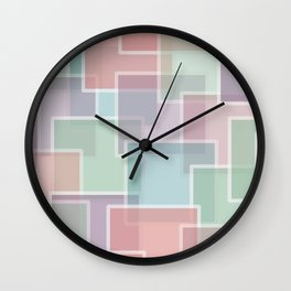 Lucite Pastel Squares pink, green, blue purple Wall Clock