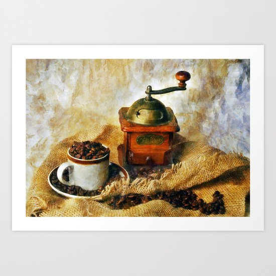 Coffee Grinder and Coffee Cup Art Print