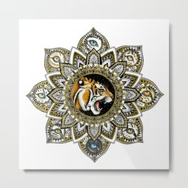 Black and Gold Roaring Tiger Mandala With 8 Cat Eyes Metal Print