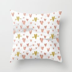 Valentines Day Rose Gold Marble Hearts Design Pattern Throw Pillow