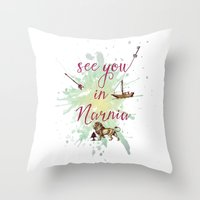 narnia Throw Pillows featuring See you in Narnia by Sybille Sterk