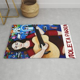 Violeta Parra playing guitar Rug