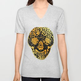 Gold Tiled Sugar Skulls Unisex V-Neck