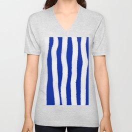 Geometric Classic Blue White Watercolor Stripes Brushstrokes Unisex V-Neck