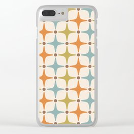Mid Century Modern Star Pattern 817 Orange Brown Blue and Olive Green Clear iPhone Case