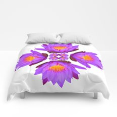 Purple Lily Flower - On White Comforters